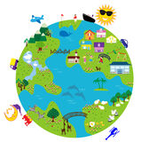 Earth. An illustration of life around the globe Royalty Free Stock Photos