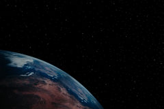 Earth 9. A simple background of the earth and stars at night in the sky of our own universe stock photo