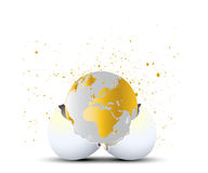 Earth. Illustration of a globe coming out of an egg shell.  Isolated against a white background.  Vector format available Stock Photos