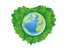 Earth. And the green background Royalty Free Stock Photography
