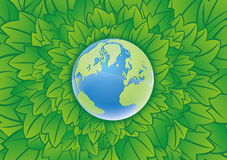 Earth. And the green background Royalty Free Stock Photo
