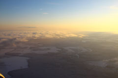 Earth from above the clouds, Moscow region Stock Photo