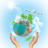 Earth above humans hands with jet. Earth above humans hands  with jet in space Royalty Free Stock Photo