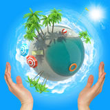 Earth above humans hands. In space with palm trees Royalty Free Stock Photography