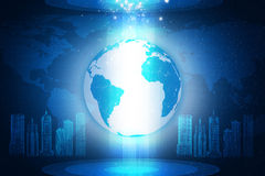 Earth on abstract blue background with 3d city Stock Images
