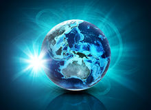 Earth on abstract blue background with glow Royalty Free Stock Images