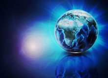 Earth on abstract blue background with reflection Stock Image