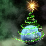 Earth with abstract christmas tree spiral stock illustration