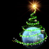 Earth with abstract christmas tree spiral. Isolated on black royalty free illustration