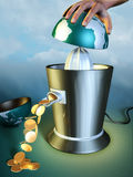Earth abuse. Earth resources are squeezed out using a juicer. Digital illustration Stock Photo