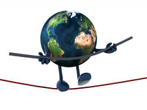 Earth acrobat who walks on a wire Royalty Free Stock Image