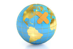 Earth with adhesive plaster, sick world concept, 3D rendering Stock Photo