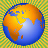 Earth Africa-Europe-Asia. Planet Earth showing Europe, Asia, and Africa with sunburst background stock illustration