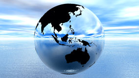 Earth against blue sky on water Royalty Free Stock Image