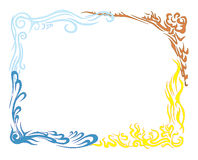 Earth air fire and water. Large frame. A large frame of the four elements earth fire air and water. Made s. Grouped royalty free illustration