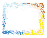 Earth air fire and water. Large frame. A large frame of the four elements earth fire air and water. Made s. Grouped vector illustration