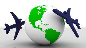 Earth and airplane royalty free illustration