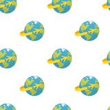 Earth with Airplane Icon Seamless Pattern Royalty Free Stock Photography
