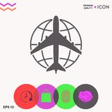 Earth and Airplane logo stock illustration