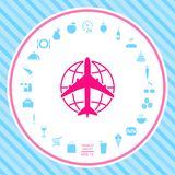 Earth and Airplane logo vector illustration