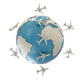 Earth and airplanes. On white background stock illustration