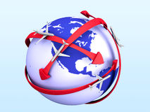 Earth with airplanes. And red arrows stock illustration