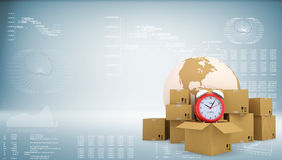 Earth with alarm clock and cardboard boxes Stock Image