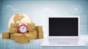Earth with alarm clock and cardboard boxes. Open Stock Image