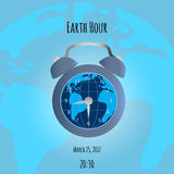 Earth and alarm clock on map background Stock Image