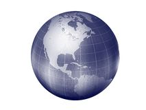 Earth- americas continents. 3d render of globe looking on north america continent and caribbean Stock Photography