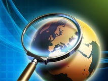 Earth analysis. The Earth analyzed under a magnifying glass, with focus on Europe. Digital illustration Royalty Free Stock Photos