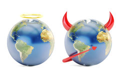 Earth angel and demon, 3D rendering. On white background Royalty Free Stock Images