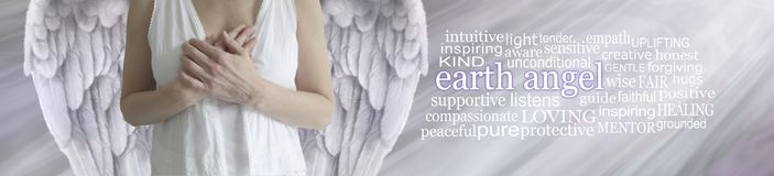 Earth Angel Word Tag Cloud Banner. In spiritual silver tones, a winged female torso with hands held over heart and an EARTH ANGEL word cloud to the right against royalty free stock photos