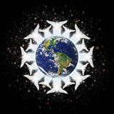 Earth Angels. Digital illustration of angels surrounding the earth: Western Hemisphere. Earth image: Coutesy: NASA royalty free stock photography