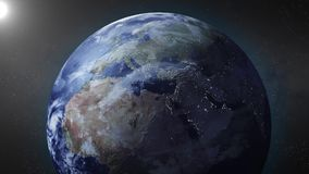 Earth animation zooms in on Europe Royalty Free Stock Photography