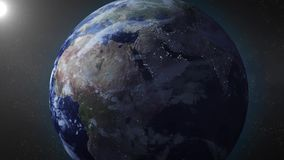 Earth animation zooms in on Middle East