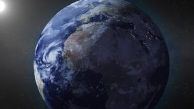 Earth animation zooms in on North Africa stock footage