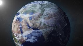 Earth animation zooms in on Russia Stock Photography