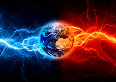 Earth apocalypse. In the fire and ice lightnings. Elements of this image furnished by NASA Royalty Free Stock Photos
