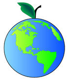 Earth apple. Earth or globe with leaf and stem - concept apple earth or beginning of creation Stock Images