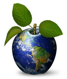 Earth Apple. Digital illustration of earth as an apple Royalty Free Stock Photos