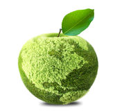 Earth apple. Earth map made of green grass apple isolated Royalty Free Stock Photos