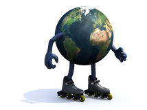 Earth with arms, legs and rollerskates Royalty Free Stock Images
