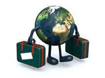 Earth with arms and legs that take a suitcase Royalty Free Stock Photos
