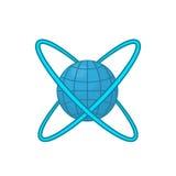 Earth around orbits icon, cartoon style Stock Images