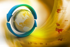 Earth with arrow circle around Stock Photography