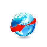 Earth with arrow circle around Royalty Free Stock Images