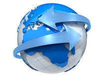 Earth with arrows. Two arrows surrounding Earth globe - 3d render Stock Photos
