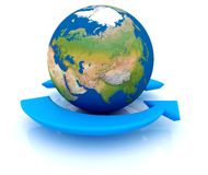Earth With Arrows. Two arrows surrounding Earth globe - 3d render Stock Image