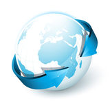 Earth with arrows. Turning around stock illustration